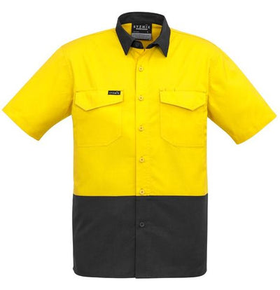 Mens Rugged Cooling Hi Vis Spliced Short Sleeved Shirt