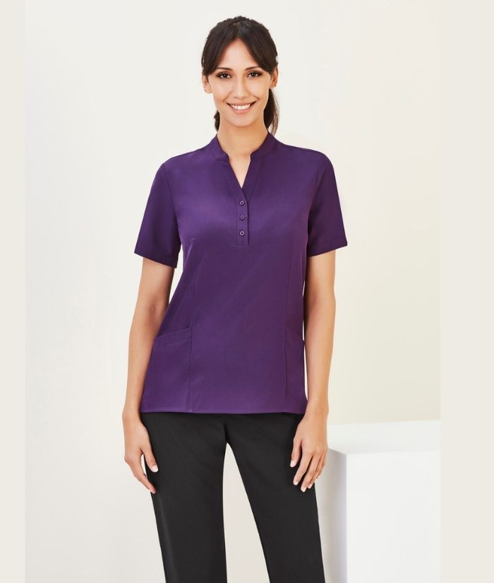 biz-care-tunic-helthcare-short-sleeve-CS949LS-purple-rest-homes-hotel