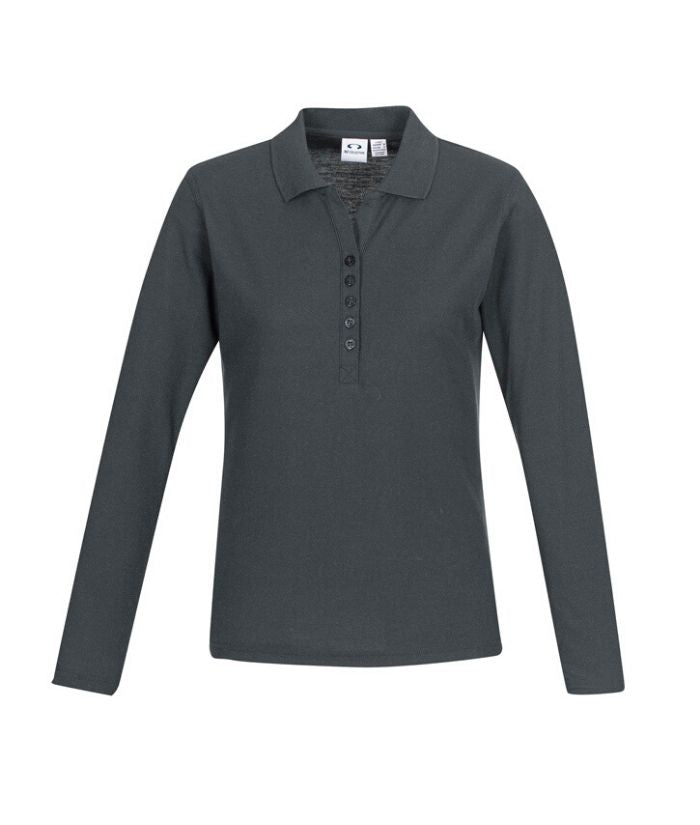 bIZ cOLLECTION lADIES cREW lONG sLEEVE pOLO. p400ll Colour: Black