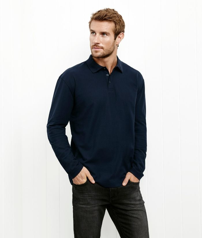 Biz Collection Mens Long sleeve Crew Polo. P400MS Colours: Navy, Black, Charcoal