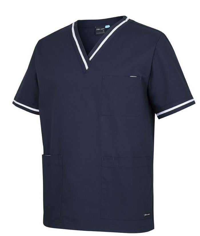 JB's Unisex Contrast Scrub Top, 4CT. Colour: Nay/White.