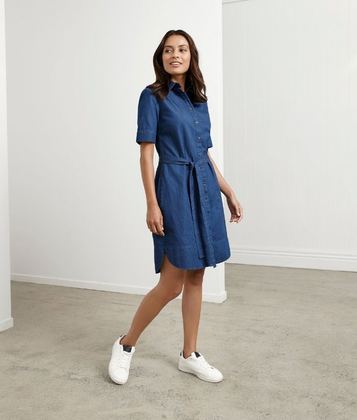 Biz Collection Delta Denim Dress. BS020L Colour: Dark Blue Sizes: 6 - 20