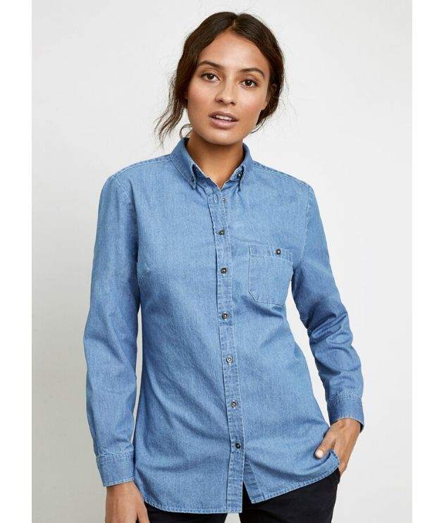 Biz Collection Womens Indie Denim Long Sleeve Shirt - S2017LL Colour: Blue