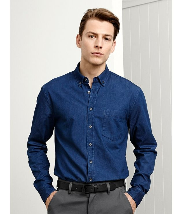 Biz Collection Mens Long sleeve indie Denim shirt - Code S017ML Colour: Dark Blue