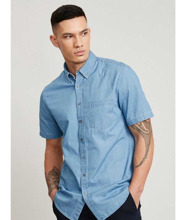 Biz Collection Mens Short sleeve indie Denim shirt - Code S017MS Colour: Light blue denim