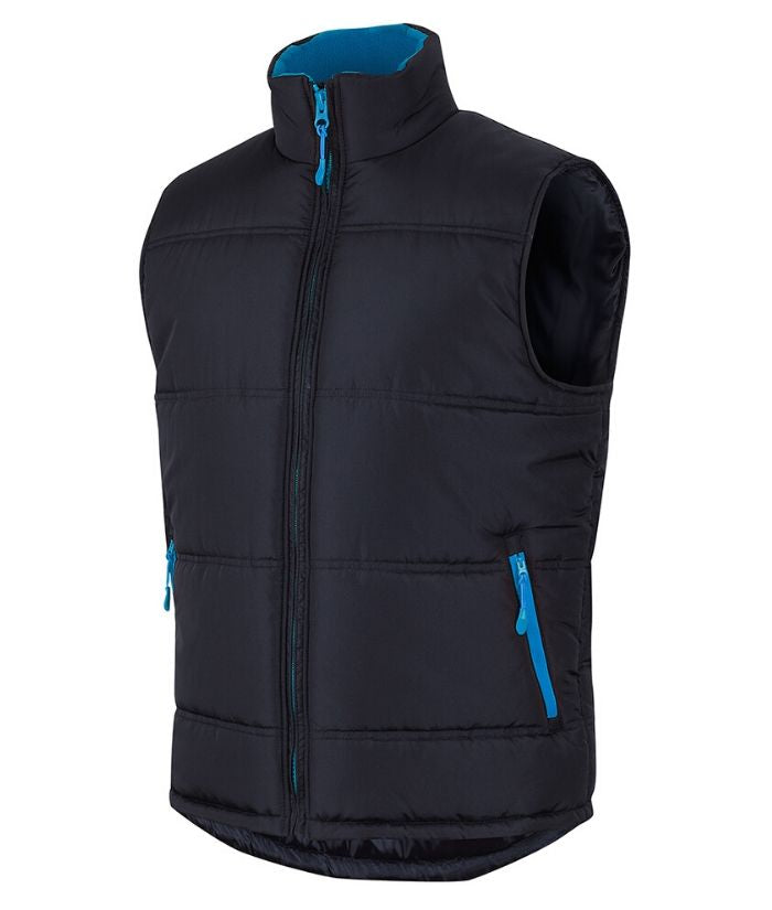 Work-uniform-outdoor-activewear-JB's Contrast Puffer Vest. Black/Red