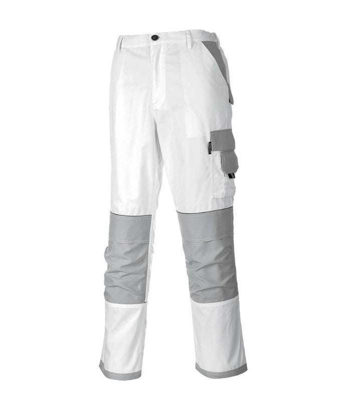 Painters Pants Painters Pro Trouser. Colour: White/Grey 100% Cotton, Sizes: S - 2XL