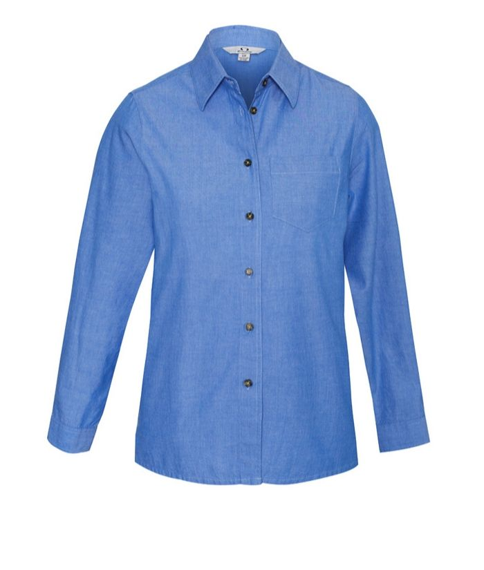 womens-ladies-long-sleeve-chambray-denim-shirt-100%-cotton-uniform-office-trades-casual