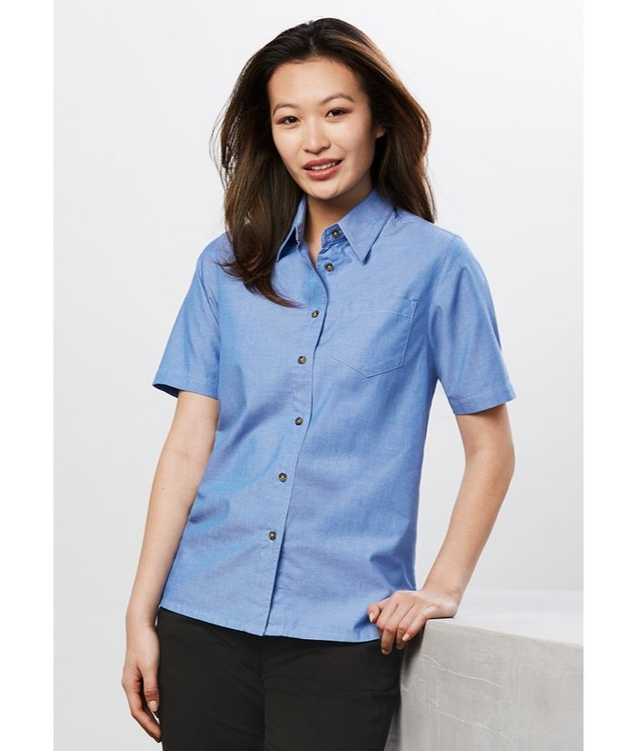 Ladies Wrinkle Free, Chambray Short Shirt Shirt