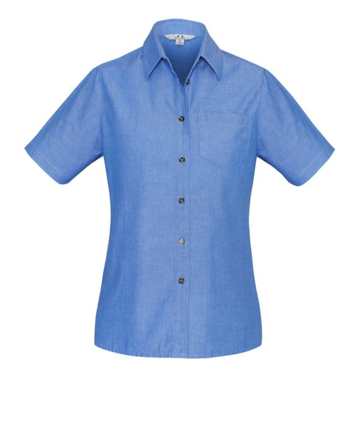 womens-ladies-short-sleeve-blue-chambray-100%-cotton-shirt-uniform-office-hospitality-trades