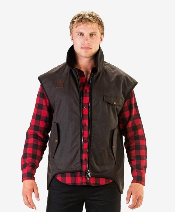 Mens Levels Oilskin Vest with Cotton Lining