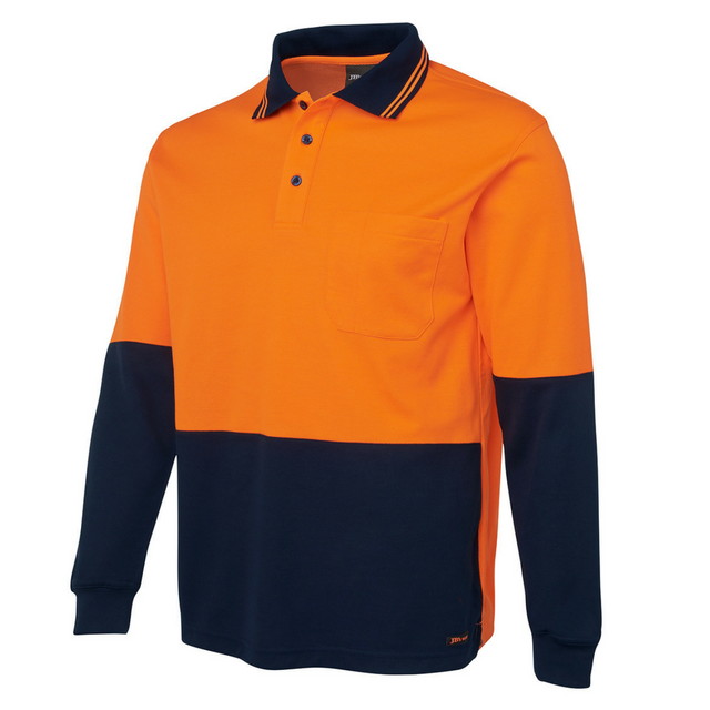 Hi Vis L/S Cotton Back Polo-6hpl