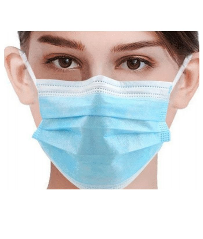 Maevn Disposable 3-ply Face Mask. Colour: Blue. Size: 9.5cm H x 17.5cm W.