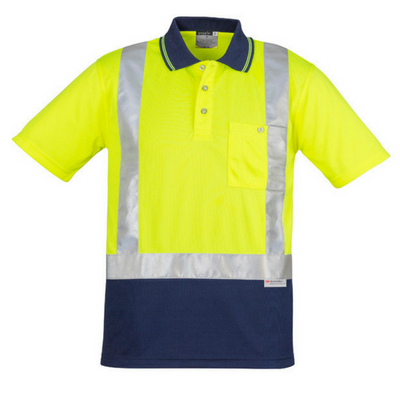 Mens Hi Vis Spliced Polo - Short Sleeve Shoulder Taped-zh233