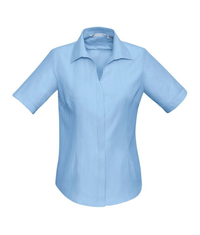 LADIES PRESTON short sleeve shirt. Corporate uniform. Colours white, blue and black