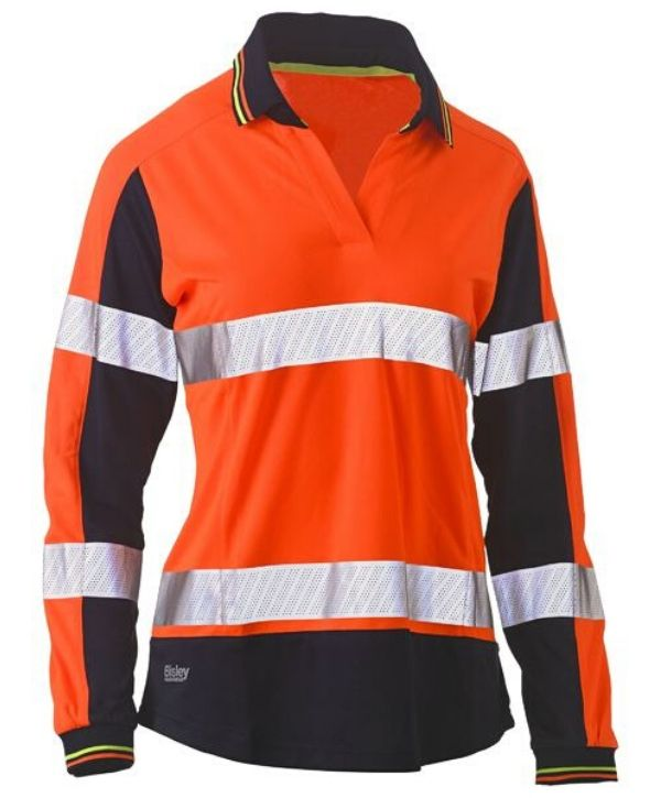 Womens Long Sleeve Taped, 2 Tone, Hi Vis, V-Neck Polo Orange/Navy
