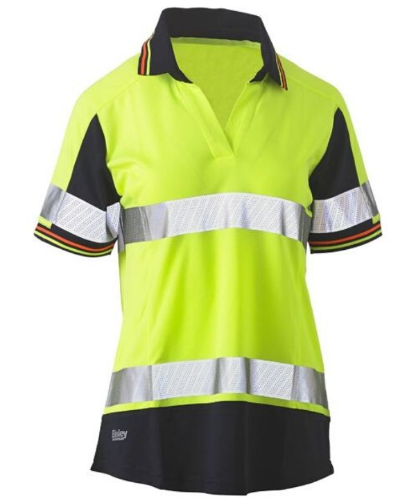 Womens Short Sleeve Taped, 2 Tone, Hi Vis, V-Neck Polo Orange/Navy Trade uniform