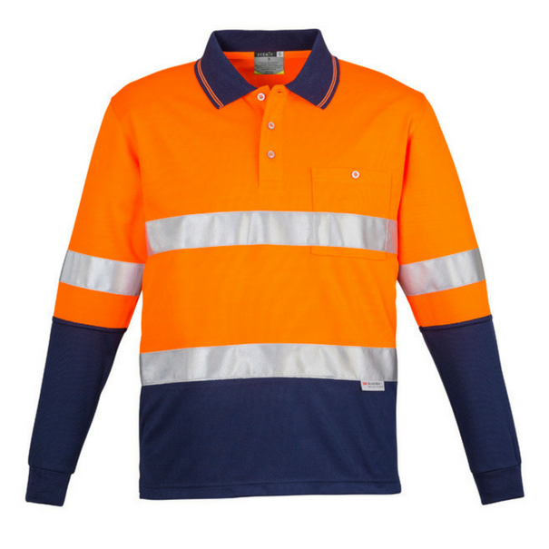 Mens Hi Vis Spliced Polo - Long Sleeve Hoop Taped-zh235