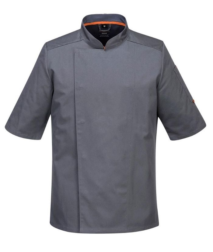 portwest-meshair-domed-chef-jacket-Short-sleeves-slate-grey-S738