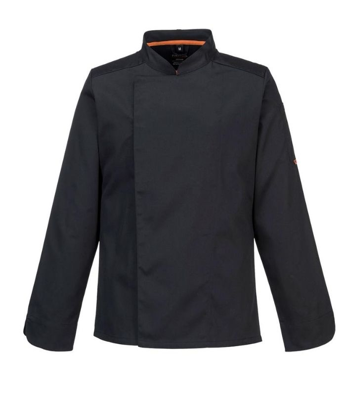 portwest-meshair-domed-chef-jacket-long-sleeves-black-S838