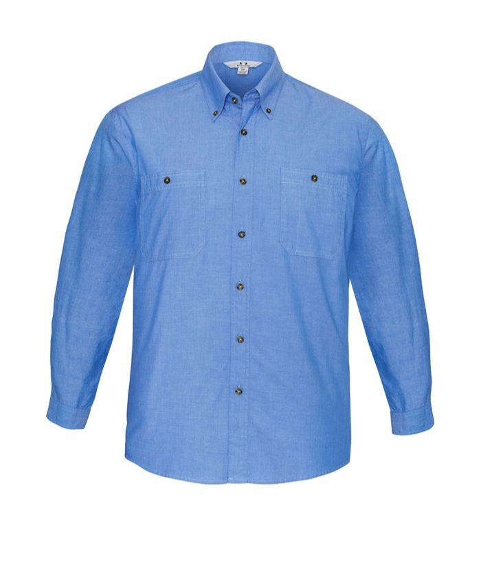 Mens-long-sleeve-chambray-shirt-blue-100%-cotton-uniform-trades-hospitality-casual