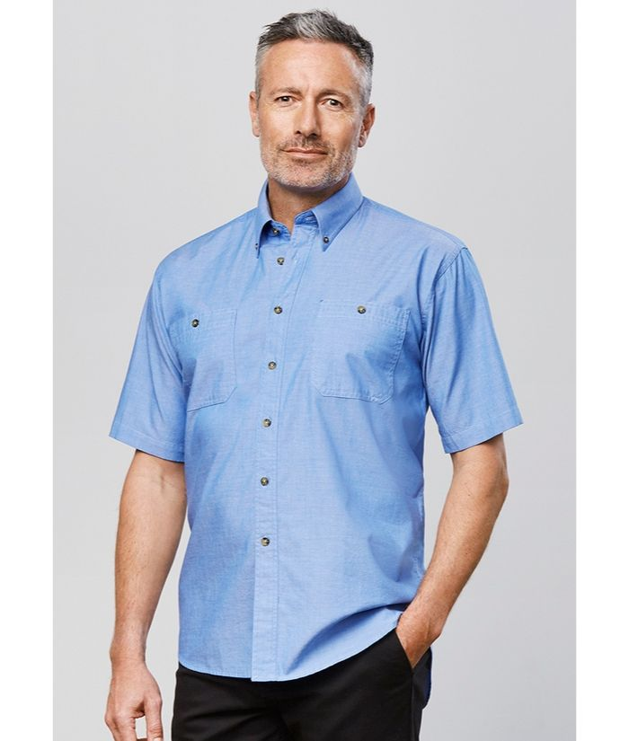 Mens Wrinkle Free, Chambray Short Shirt Shirt