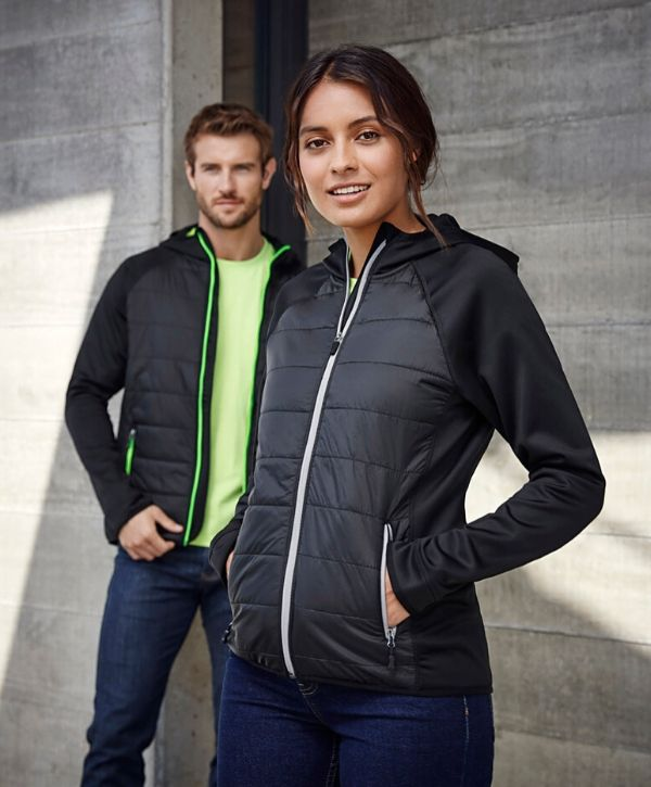 stealth-tech-puffer-hoodie-ladies-black-cyan-jacket-uniform-activewear