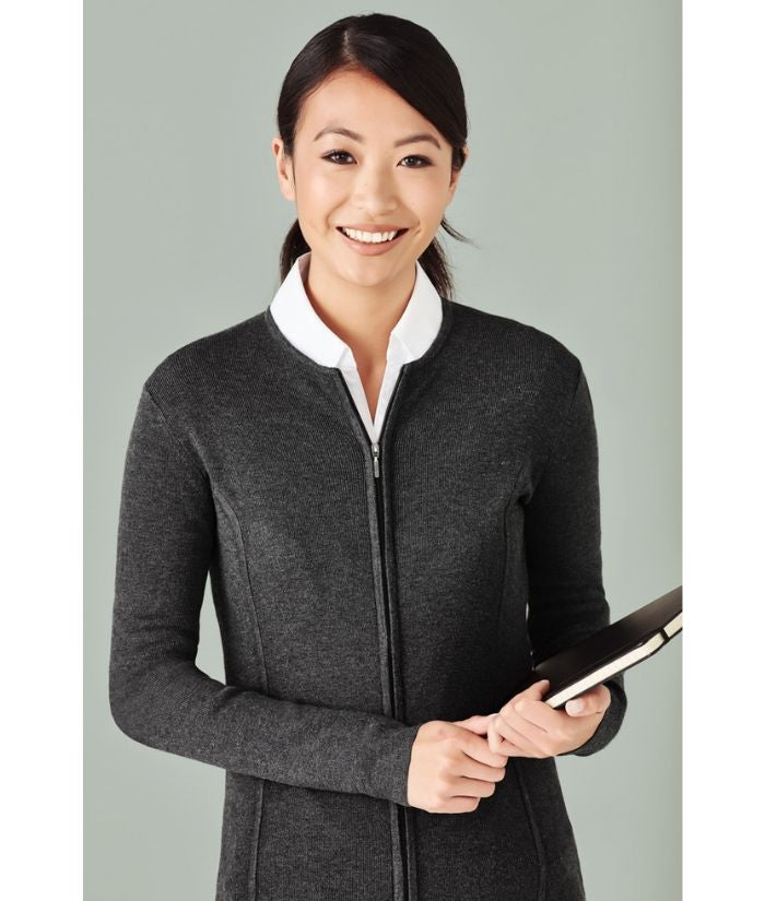 knitwear-lc3505-ladies-2-way-zip-cardigan-corporate-hotel-charcoal-womens-office-uniform