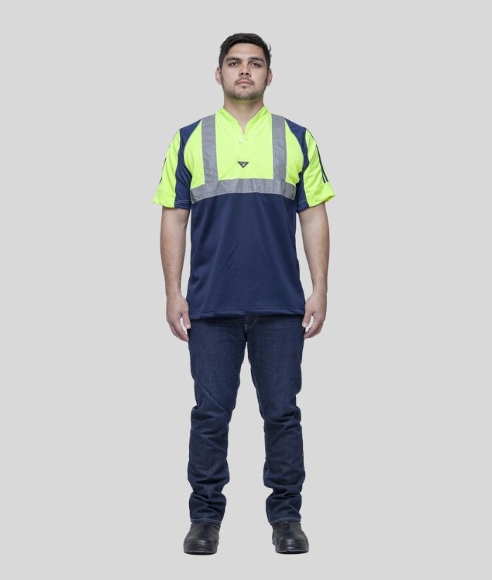 Hi Vis, Day/Night Half Front Rugger Polo Shirt