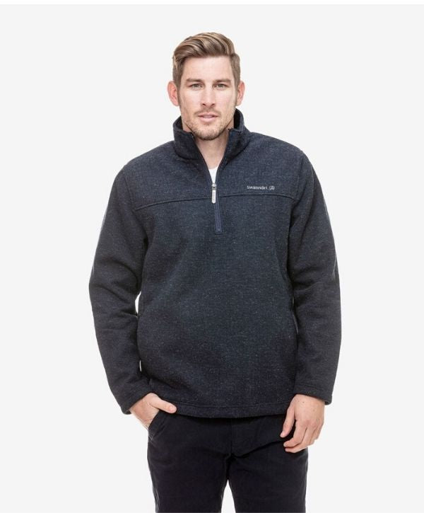 SD2462-Men's Weka Pullover with Bonded Wool Lining-SWANNDRI. Colours: Navy, Charcoal. Sizes: Sm - 3XL