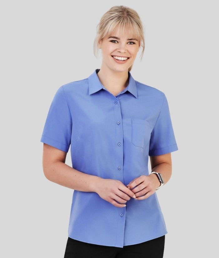 womens-short-sleeve-blouse-bizcare-florence-stretch-mid-blue-cs97ls
