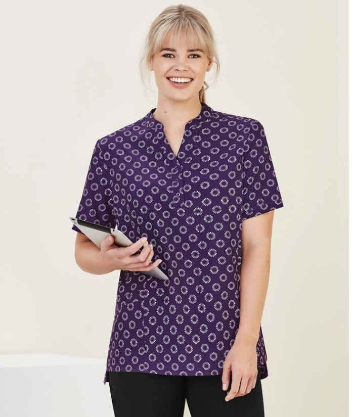 womens-short-sleeve-tunic-bizcare-florence-dairy-print-stretch-purple-CS950ls