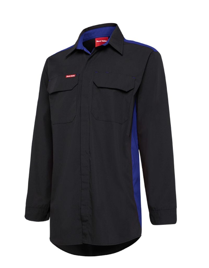 mens work shirts. Hard Yakka Long Sleeve Contrast Shirt Code: N2SU02 Colours: Black/Red, Black/Grey, Black/Blue Sizes: S - 5XL