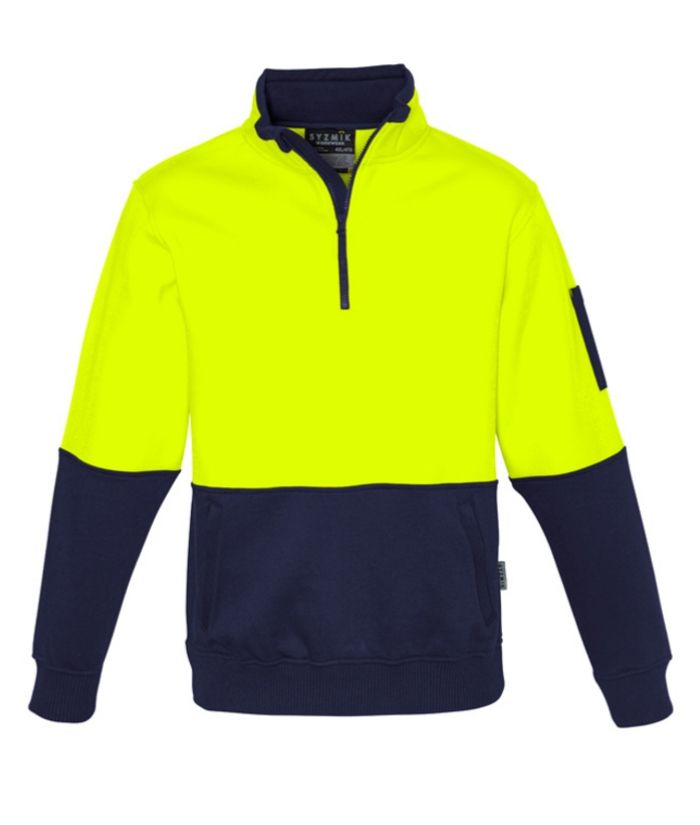 hi-vis-fleece-pullover-1/2-zip-orange-navy-builders-construction-plumbers-electricians