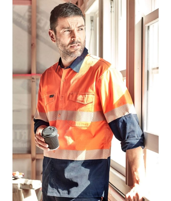 zw229-mens-rugged-cooling-hi-vis-segmented-tap-long-sleeve-shirt-orange-navy