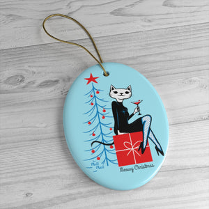 Meowy Christmas Ceramic Ornament