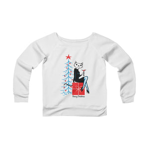 Meowy Christmas Women's Off The Shoulder Sweatshirt
