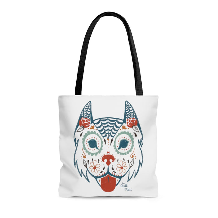 Sugar Skull Dog Tote Bag