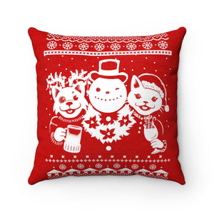 Party Animals Ugly Christmas Sweater Throw Pillow