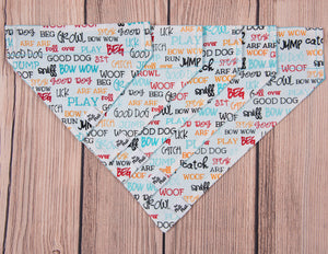 Dog Bandana, Bow Wow, Light Blue