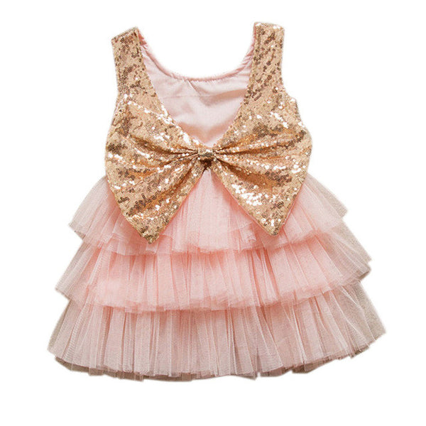Sequin Bow Layered Tulle Dress - Little Lady Agency