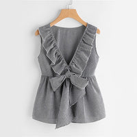 Sheinside Plaid Cute Bow Front Blouse Deep V Neck Shell Tops 2017 Women Ruffle Sleeveless Summer Tops Ladies Peplum Tunic Blouse - Little Lady Agency