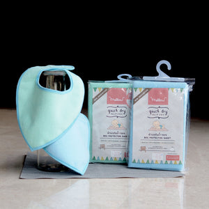 mellow bed protector and baby bib set