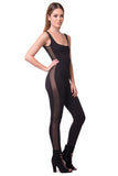 MESH PANEL SOLID JUMPSUIT