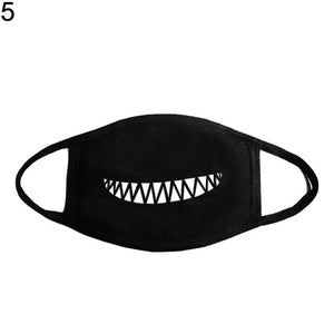 Unisex Solid Black Cartoon Teeth Print Face Half Mouth Mask Fashion Cute Breathable Warm Cotton Windproof Anti-Dust Masks