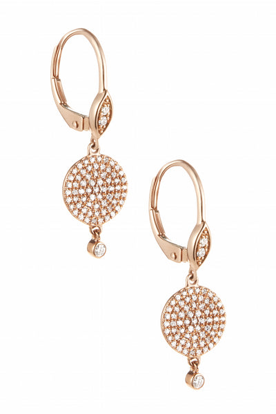 Circle Drop Pave Huggie Hoops