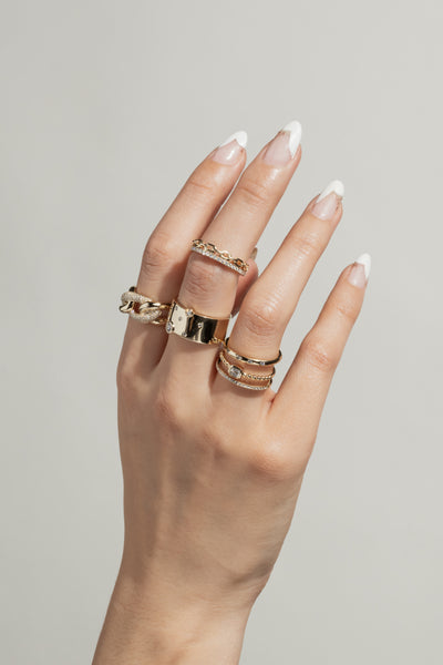 Chain Link and Pave Double Stack Ring