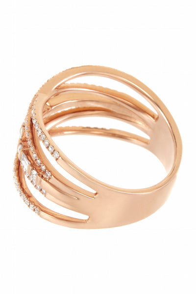 Pave and Baguette Criss Cross Ring