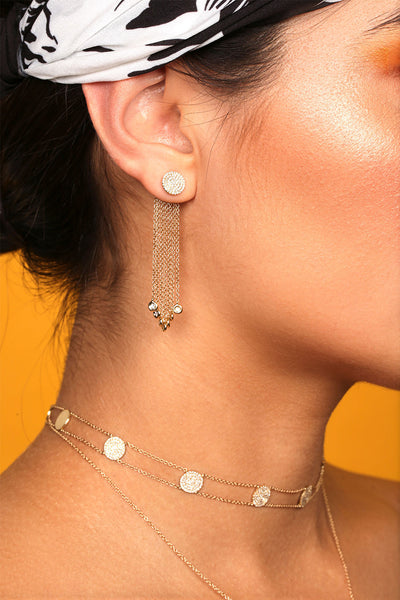 Pave Circle Fringe Jacket Earrings