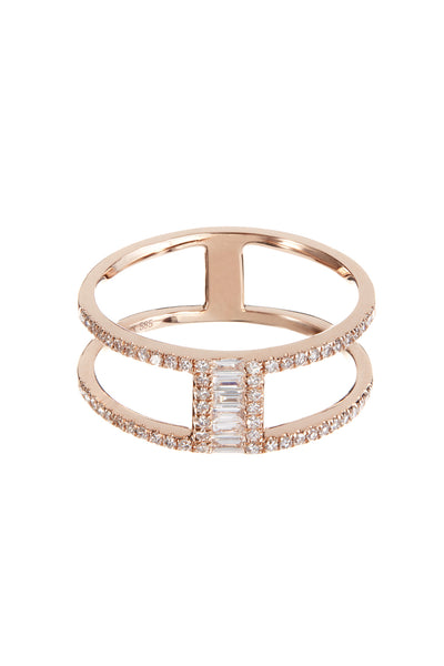 Baguette and Pave Diamond Double Stack Ring